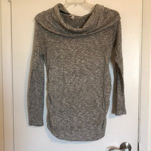 Gray Cowl Neck Maternity Sweater